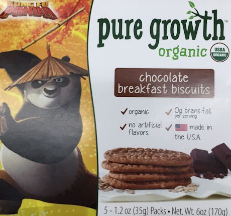 Pure Growth Kung Fu Panda Organic Chocolate Breakfast Biscuits