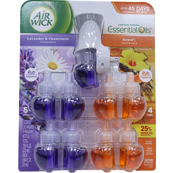 Air Wick Scented Oils, Lavender & Chamomile / Hawai'I (1 Warmer + 9 Refills)