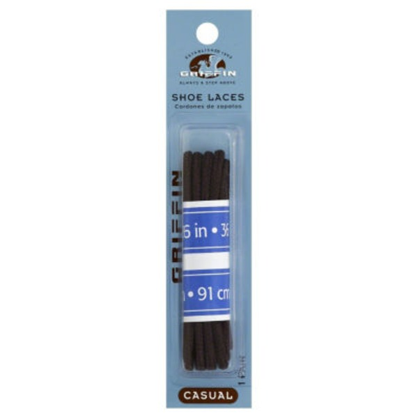 Griffin Shoe Laces, Casual, Blister Pack