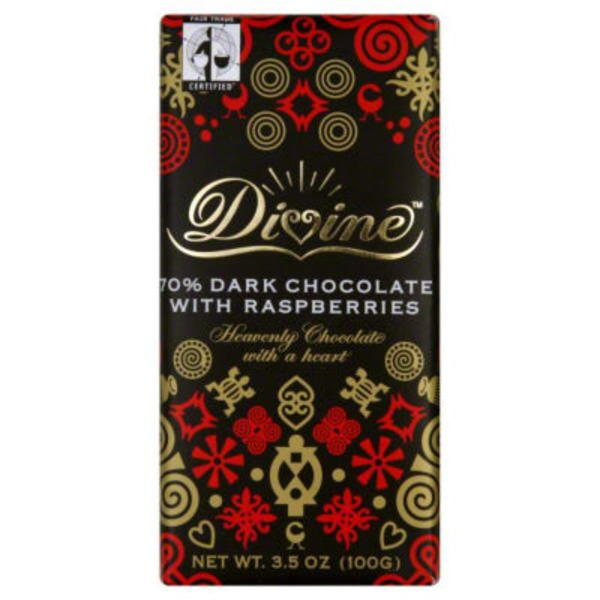 Divine Chocolate Bar Dark Chocolate With Raspberries