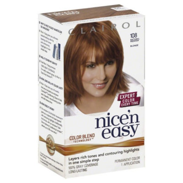 Clairol Nice 'n Easy, 8R/108 Natural Medium Reddish Blonde, Permanent Hair Color, 1 Kit Female Hair Color