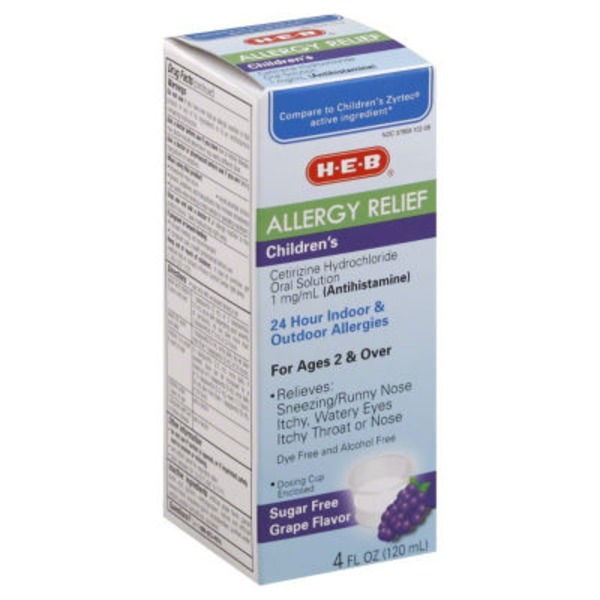 H-E-B Allergy Relief Children's Oral Solution (Antihistamine) 24 Hr Indoor & Outdoor Allergies For Ages 2 & Over Sugar Free Grape Flavor