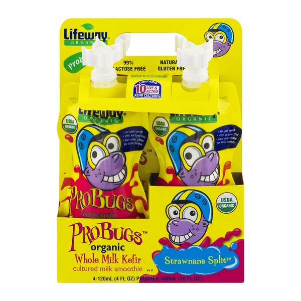 Lifeway ProBugs Strawnana Split Organic Whole Milk Kefir Cultured Milk Smoothie