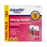 Equate Allergy Relief Antihistamine Tablets, 25 mg, 100 Ct, 2 Pk