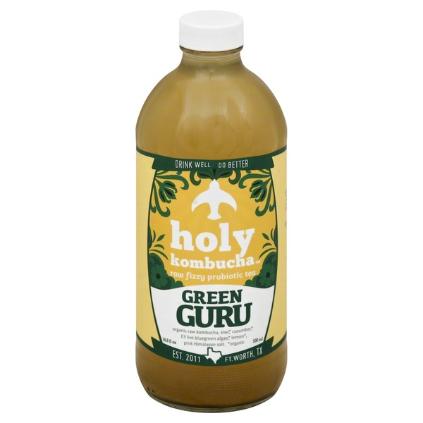 Holy Kombucha Tea, Raw Fizzy Probiotic, Green Guru
