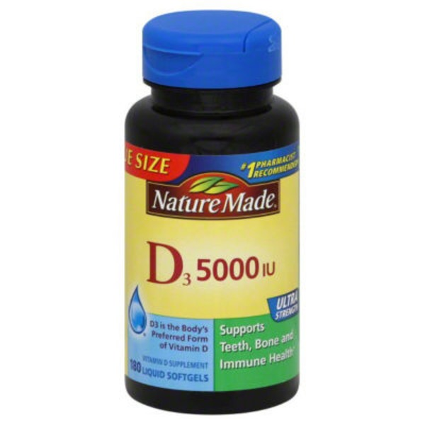 Nature Made D3 5000 IU  Vitamin Supplement Liquid Softgels - 180 CT