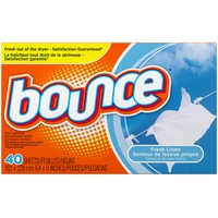 Bounce Fabric Softener Dryer Sheets Fresh Linen 40CT Fabric Enhancers
