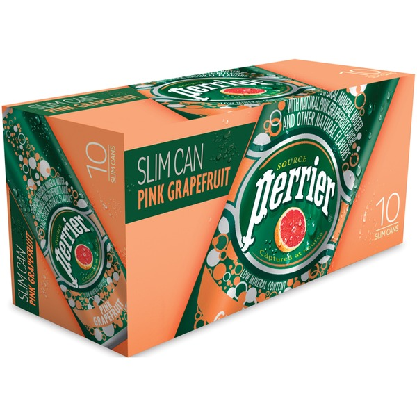 Perrier Slim Can Pink Grapefruit Sparkling Natural Mineral Water