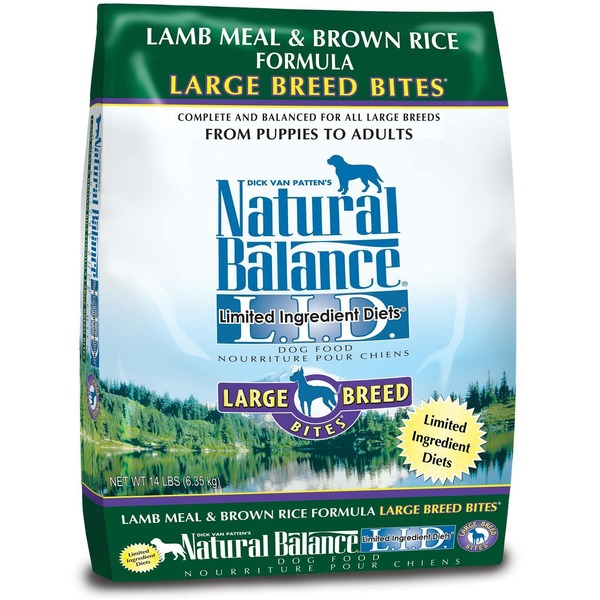 Natural Balance Lamb Meal & Brown Rice Formula Large Breed Bites L.I.D. Limited Ingredient Diets Dog Food