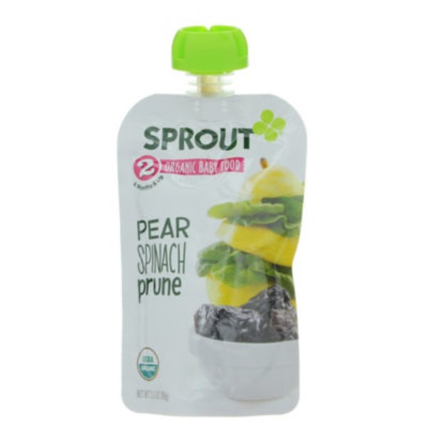 Sprouts Baby Food, Organic, Pear Spinach Prune, 2 (6 Months & Up)
