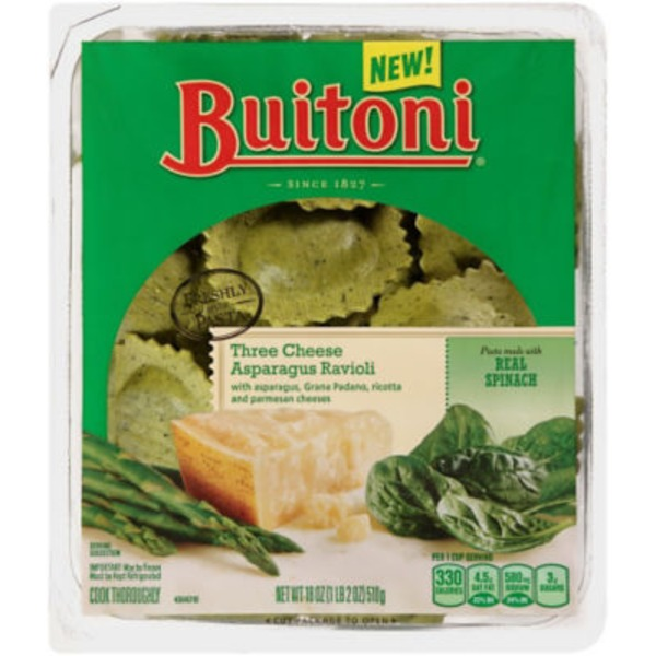 Buitoni Freshly Made. Filled with Asparagus, Asparagus, Grana Padano, Ricotta & Parmesan Cheeses Three Cheese Asparagus Ravioli