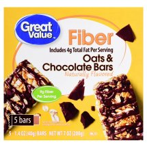 Great Value Fiber Bars, Oats & Chocolate Bars, 1.4 oz, 5 Count