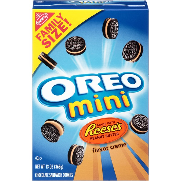 Nabisco Oreo Chocolate Mini Reese's Peanut Butter Flavor Creme Sandwich Cookies