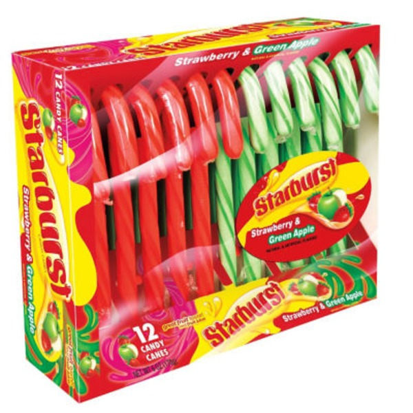 Starburst Candy Canes Strawberry & Green Apple - 12 CT