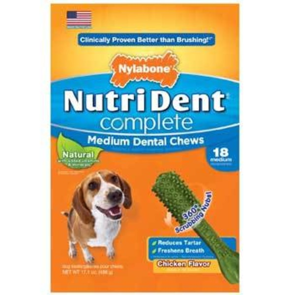 Nylabone Nutri Dent Adult Dog Chicken Chews 18 Ct.