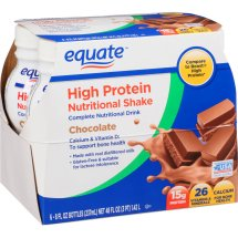 Equate chocolate high protein nutritional shakes, 8 Oz, 6 ct