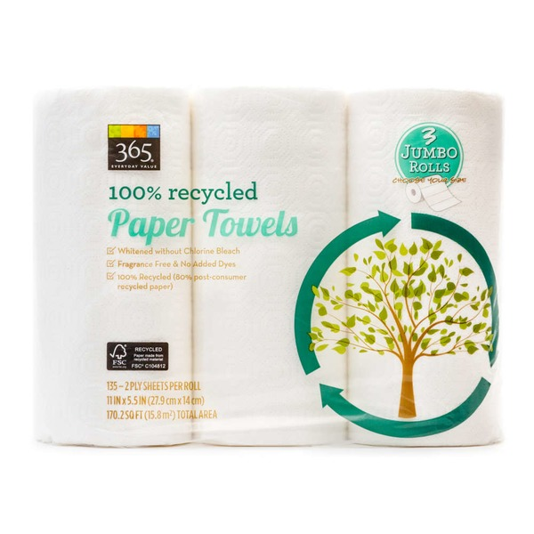 365 100% Recycled Paper Towel Rolls