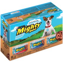 Purina Mighty Dog Hearty Beef Dinner, Chicken and Smoked Bacon Combo, Lamb and Rice Variety Pack Wet Dog Food, 5.5 Oz.