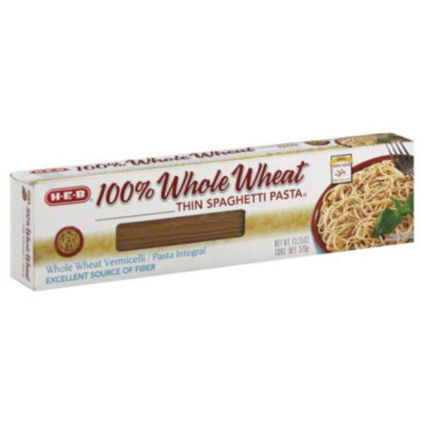H-E-B 100% Whole Wheat Thin Spaghetti Pasta