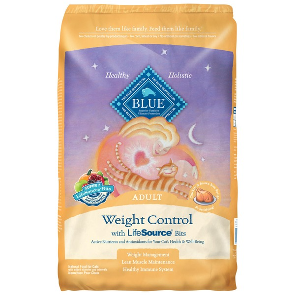 Blue Buffalo Food for Cats, Natural, Weight Control, Adult, Chicken & Brown Rice Recipe