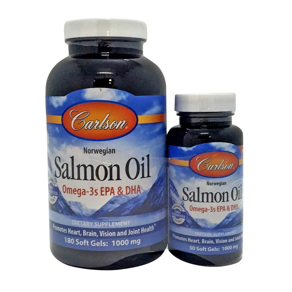 Carlson Labs Norwegian Salmon Oil Omega-3s EPA & DHA Dietary Supplement Soft Gels 1000 mg