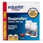 Equate Pain Relief Ibuprofen Coated Tablets, 200 mg, 100 Ct, 2 Pk