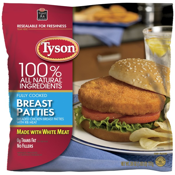 Tyson Frozen Breaded Patties Chicken