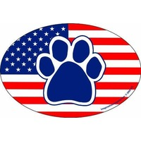Oval Us Flag Paw Car Magnet