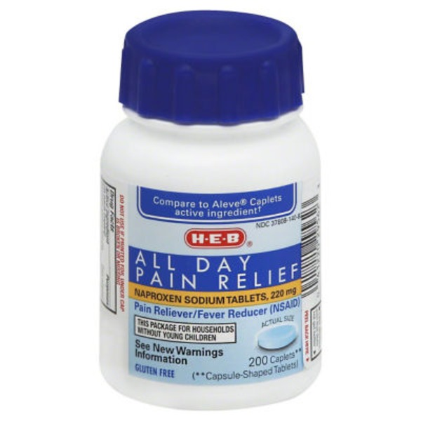 H-E-B All Day Pain Relief Naproxen 220 Mg Caplets