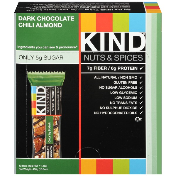 Kind Nuts & Spices Dark Chocolate Chili Almond Snack Bars