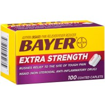 Extra Strength Bayer Aspirin, 500mg Coated Tablets, Rushes Relief to the Site of Tough Pain, Pain Reliever/Fever Reducer, 100ct