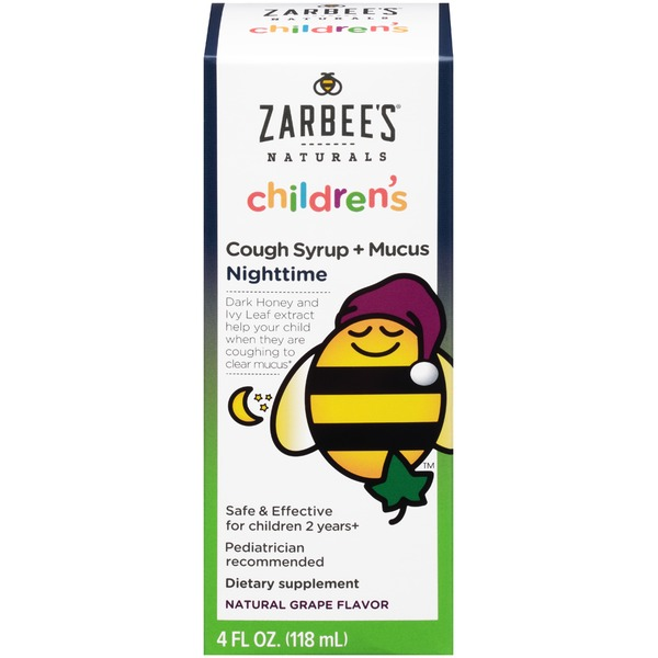 Zarbee's Naturals Children's Cough Syrup + Mucus Nighttime Natural Grape Flavor Dietary Supplement
