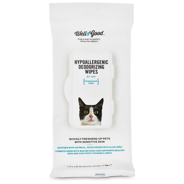 Well & Good Fragrance Free Hypoallergenic Deodorizing Wipes For Cats