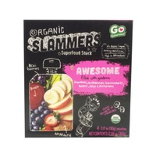 Slammer's Kids Gourmet Superfood Snack Awesome Fruit & Yogurt Filled Pouches Organic