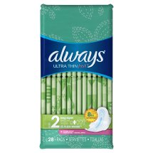 Always Ultra Thin Pads with Wings, Super, Scented, 28 Ct, Size 2