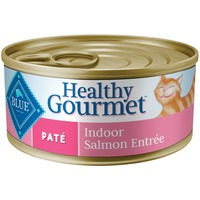 Blue Buffalo Cat Food, Moist, Healthy Gourmet, Pate, Indoor Salmon Entree, Can