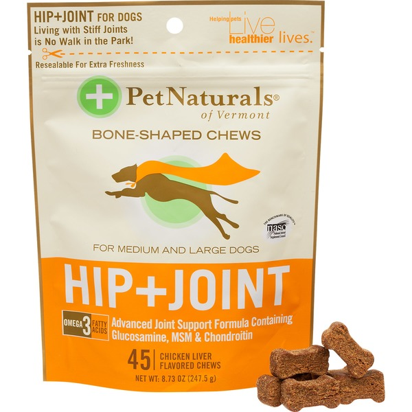 Pet Naturals Of Vermont Bone-Shaped Chews, Hip + Joint, for Medium and Large Dogs, Chicken Liver Flavored