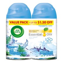 Air Wick Freshmatic 2 Refills Automatic Spray, Fresh Waters, (2X6.17oz), Air Freshener