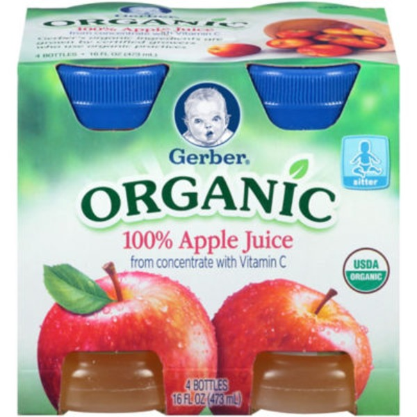 Gerber Organic Juice Organic Apple Juice 4 pk Fruit