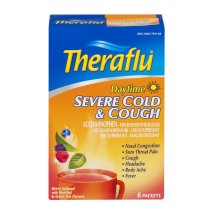 Theraflu Daytime Severe Cold & Cough Medicine, Berry Flavors, Hot Liquid Powder Packets, 6 count