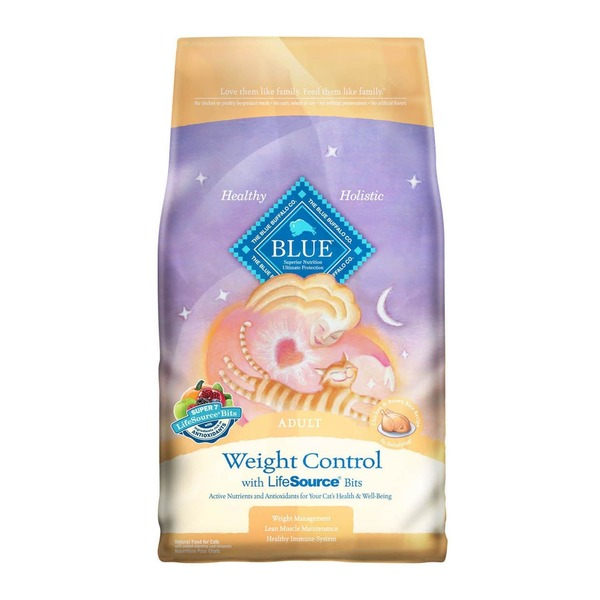 Blue Buffalo Cat Food, Dry, Chicken & Brown Rice, Weight Control, Adult, Bag