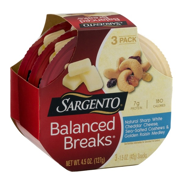 Sargento Balanced Breaks Natural Sharp White Cheddar Cheese, Sea-Salted Cashews & Golden Raisin Medley