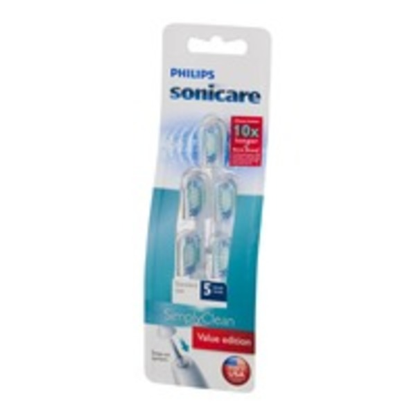 Philips Sonic Care Simply Clean Standard Size Brush Heads - 5 CT