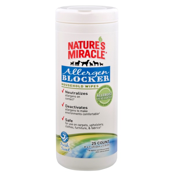 Nature's Miracle Allergen Blocker Household Wipes Pack Of 25 Wipes