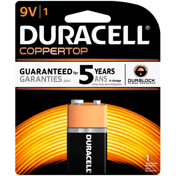 Duracell Coppertop 9V Alkaline Batteries Primary Major Cells