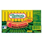 Nathan's Famous Original All Beef Bun-Length Skinless Franks, Great to Grill, Roast or on the Warmer, 8 Hotdogs per Package