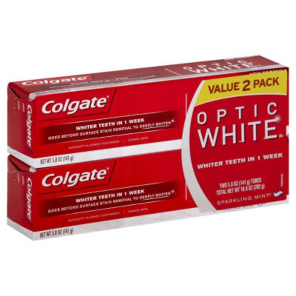 Colgate Optic White Anticavity Fluoride Toothpaste Sparkling Mint - 2 PK