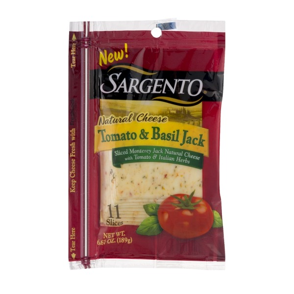 Sargento Natural Cheese Slices Tomato & Basil Jack