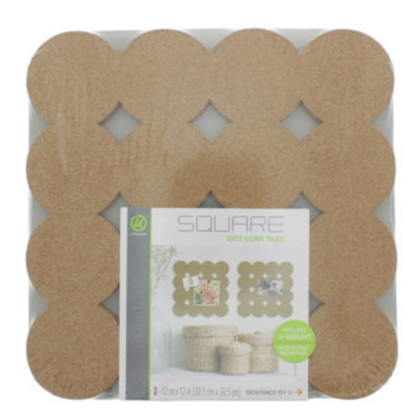 U Brands Dot Cut Cork Tiles Board