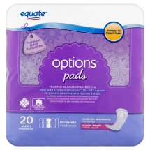 Equate Options Incontinence Pads for Women, Moderate, Regular Length, 20 Ct